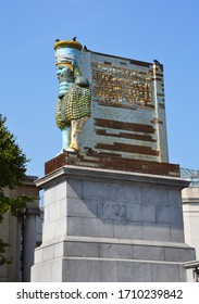 London, UK - 27 August, 2019: The sculpture the Invisible Enemy Should Not Exist by Michael Rakowitz re-creates the 2700 year old Lamassu, destroyed in Nineveh.