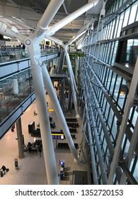 LONDON, UK - 27 MARCH 2019: London Heathrow terminal 5 building interior.