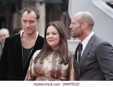 London, UK, 27th May 2015: Jude Law, Melissa Mccarthy  and Jason Statham attend The European premiere of SPY at the Odeon Cinema, Leicester Square in London