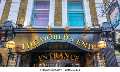 London, UK - 28 December, 2017: The World's End pub store front in Camden. London is the capital city of England in  United Kingdom and plays host to an average of over 18 million tourists per year.