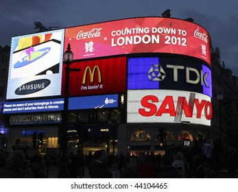 """LONDON, UK - 28 FEBRUARY 2009 Piccadilly Circus in London displaying """"Countdown to London 2012"""", referring to the upcoming Olympics to be held in the city."""
