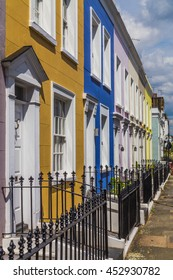 LONDON, UK - 28TH JUNE 2016: A view of colourful buildings and streets in Notting Hill, London.