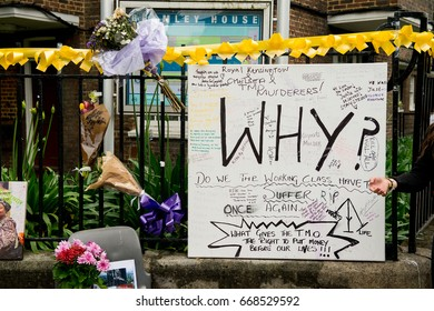 London, UK. 28th June 2017. EDITORIAL - Floral tributes and messages for the victims of the Grenfell Tower fire, London, which ripped through the tower block leaving hundreds homeless and many dead.