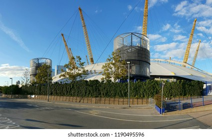 London, UK, 28th September 2018: Panoramic view of the O2 Arena in London against blue sky and clouds
