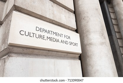 LONDON, UK - 29 AUGUST 2017: The UK government building for the Department for Culture, Media and Sport on London's Whitehall.
