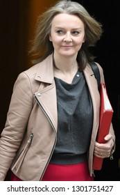 London, UK. 29 Januari, 2019. Elizabeth Truss MP, Chief Secretary to the Treasury, leaves the Cabinet meeting.