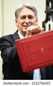 London, UK. 29 October, 2018. Chancellor Philip Hammond departs No.11 Downing Street to present his Budget to Parliament.