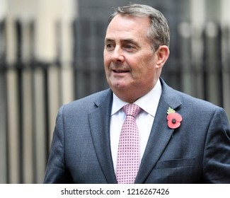 London, UK. 29 October, 2018. Liam Fox, Secretary of State for International Trade and President of the Board of Trade leaves the Cabinet Meeting on Budget Day.