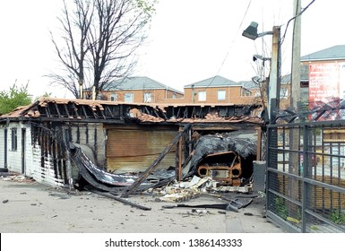LONDON/ UK- 29th April 2019: Damage caused to a garage and car, after a major fire, in Chadwell heath, Dagenham, east London.