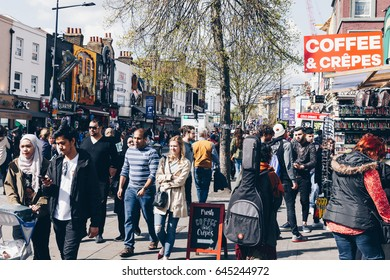 London, UK - 2nd of April, 2017: Camden Lock Village, famous alternative culture shops in Camden Town, London. Camden Town markets are visited by 100,000 people each weekend