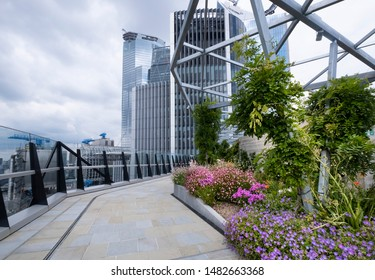 London UK, 2nd August 2019 - Roof top garden at Fen Court, 120 Fenchurch Street is viewing platform in the heart of London
