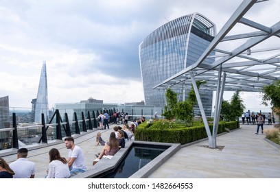 London, UK: 2nd August 2019 - Fen Court roof garden has beautiful gardens and spectacular views of the London skyline