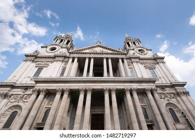 London, UK, 2nd August 2019 - St Pauls cathedral in the city of London