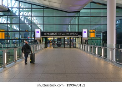 LONDON, UK -3 APR 2019- View of the Terminal 2, the Queen's Terminal,  at London Heathrow Airport (LHR), the busiest airport in England and the main hub for British Airways (BA).