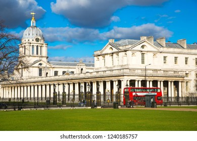 London, UK - 3 December, 2016: Panorama Greenwich architectural complex include Royal chapel, Painted hall, Greenwich university and park