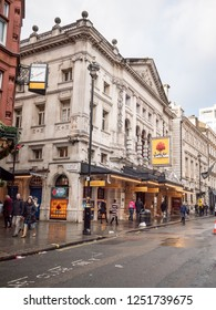 LONDON, UK - 3 DECEMBER 2018: The facade to the Noel Coward Theatre on St. Martin's Lane in the heart of London's West End theatre district.