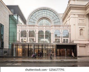 LONDON, UK - 3 DECEMBER 2018: The facade to the Floral Hall, now known as  the Paul Hamlyn Hall.  The glass and iron building is adjacent, and part of, the main Royal Opera House in Covent Garden.