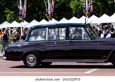 London u.k. 3 June 2019 Camilla and Charles head back along the Mall to Clarence House after attending a reception at Buckingham Palace to welcome President Trump's first state visit to London