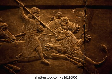 London, UK - 30 June 2016: Assyrian relief of the Royal lion hunt of King Ashurbanipal seen at the British Museum in London, England, UK.