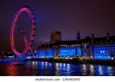 LONDON, UK - 30 OCTOBER 2011: London Eye over Thames River. It is Europe's tallest Ferris wheel and the most popular paid tourist attraction in UK
