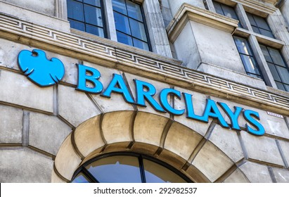 LONDON, UK - 30TH JULY 2015: The sign for a Barclays Bank outlet on Fleet Street in London, on 30th July 2015.