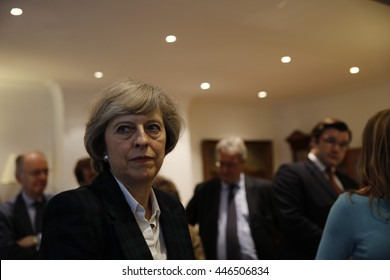 London, UK, 30th June, 2016. Theresa May talks with members of the Hampstead and Kilburn Conservatives Association
