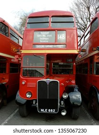 LONDON/ UK- 30th March 2019: Vintage London buses, from the 1940s and 50s, were put on display at Barking bus garage, East London.
