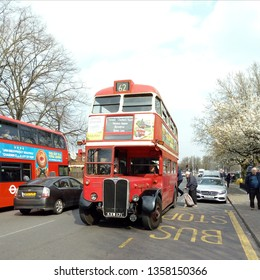 LONDON/ UK- 30th march 2019: London transport, run famous old 1940s and 50s buses on routes in barking and DAGENHAM for one day only, for people to ride again on these old favourites.