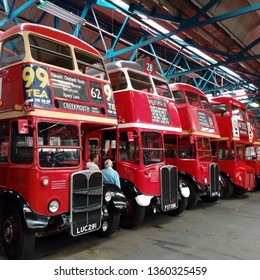 LONDON/ UK- 30th march 2019: Vintage London red buses, from the 1940s and 50s were put on display for one day only, at Barking bus garage, east London.