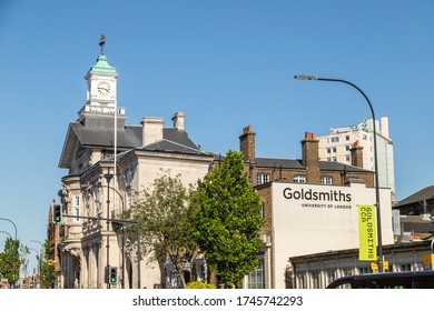 LONDON, UK - 30TH MAY 2020: The outside of buildings which are part of Goldsmiths University in London.