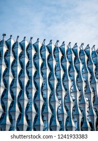 LONDON, UK - 31 OCTOBER 2018: Abstract view of the exterior cladding which surrounds the new US Embassy in the Nine Elms area of Wandsworth, London.