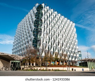 LONDON, UK - 31 OCTOBER 2018: A view of the exterior of the new US Embassy in the Nine Elms (Wandsworth) area of South West London.