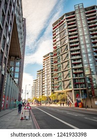 LONDON, UK - 31 OCTOBER 2018: A low angle view of contemporary apartment blocks in the Nine Elms area of Wandsworth, South West London.