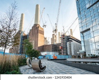 LONDON, UK - 31 OCTOBER 2018: Extensive redevelopment work being carried out to the iconic Battersea Power Station building which is being converted into residential and business use.