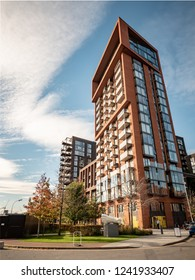 LONDON, UK - 31 OCTOBER 2018: A contemporary apartment block in the Nine Elms area of Wandsworth, London. The former industrial area is seeing redevelopment as gentrification spreads through the city.