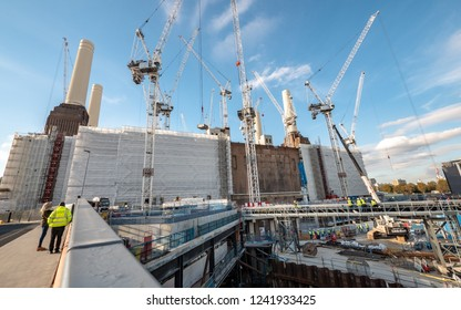 LONDON, UK - 31 OCTOBER 2018: A large-scale construction project underway on the redevelopment of the Battersea power station, London.