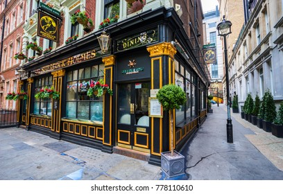 LONDON, UK - 3,11.2017:The Sherlock Holmes Pub. Traditional English pub serving pints and pub food. As well as a bar and restaurant