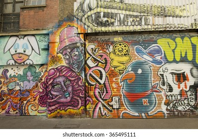 London, UK. 31st December 2015. EDITORIAL - Building exterior covered in a variety of graffiti art, located near Brick Lane, London, UK.