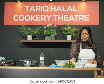 London, UK – 3rd August 2019 – Chef Shelina Permalloo, BBC MasterChef Winner And Owner Of Lakazmaman Restaurant, holding a cooking demonstration at the London Halal Food Festival in Tobacco Docks