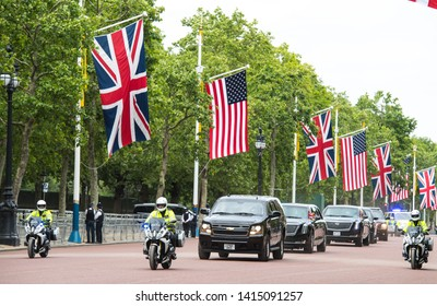 London, UK. 3rd June, 2019. US President Donald Trump travels in his motorcade as he returns to Buckingham Palace. On the first day of the US president and First Lady's three-day State Visit to the UK