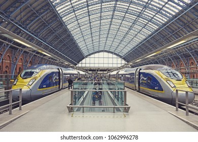 LONDON, UK, 4 April 2018 - Two trains of Eurostar are waiting at the platform of London St. Pancras
