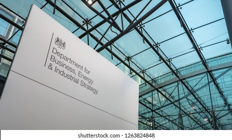 LONDON, UK - 4 DECEMBER 2018: The Department of Business, Energy & Industrial Strategy is a relatively new UK government department merging business, science and environmental interests.