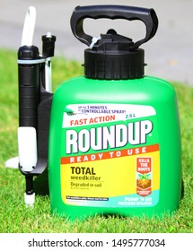 LONDON / UK - 4 SEPTEMBER 2019: RoundUp in garden. RoundUp is a brand of herbicide containing glyphosate by Monsanto Company