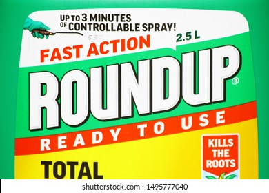 LONDON / UK - 4 SEPTEMBER 2019: RoundUp label close up. RoundUp is a brand of herbicide containing glyphosate by Monsanto Company