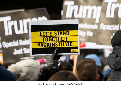 London, UK. 4th February 2017. EDITORIAL - Stop Trump's Muslim Ban rally - Thousands march through central London, in protest of President Donald Trump's Muslim ban and his state visit to the UK.