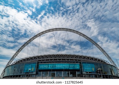 London, UK. 4th July 2018. The main exterior elevation on Wembley Stadium on a vibrant sunny summer's day