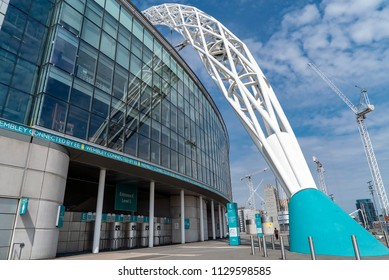 London, UK. 4th July 2018. Exterior architectural detail of Wembley Stadium which was constructed in 2007 at a cost of £789m.