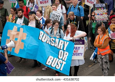 London, UK. 4th June 2016. EDITORIAL - Bursary Or Bust rally - Protest march by healthcare professionals through central London, in protest of government plans to axe the NHS Bursary for students.