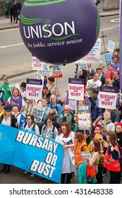 London, UK. 4th June 2016. EDITORIAL - Bursary Or Bust rally - Protest march by healthcare professionals through central London, UK, in protest of government plans to axe the NHS Bursary for students.