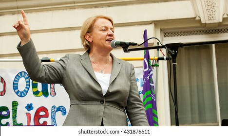 London, UK. 4th June 2016. EDITORIAL - Politician & Green Party leader Natalie Bennett, speaks at the Bursary Or Bust rally at Whitehall, London, in protest of government plans to axe the NHS Bursary.